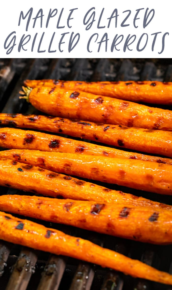 Pin graphic for grilled carrots