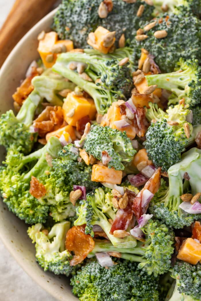 Close up of keto broccoli salad