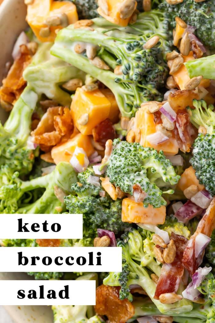 Pin graphic for keto broccoli salad