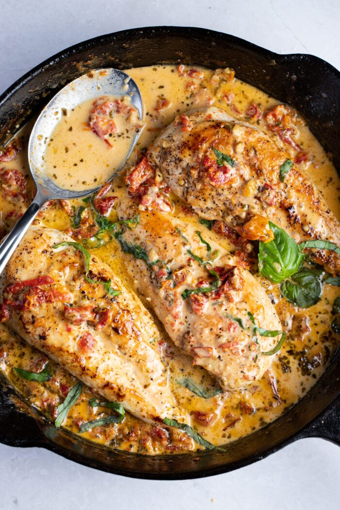 Marry me chicken in a cast iron skillet