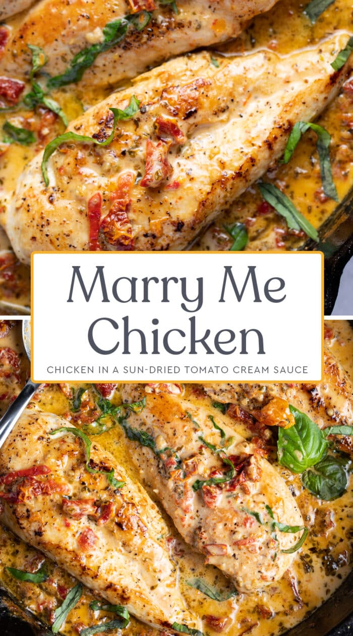 Pin graphic for marry me chicken
