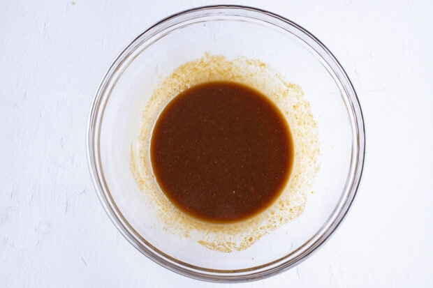 Miso marinade in a large glass bowl