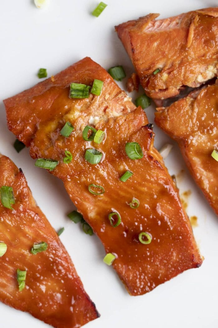 3 miso salmon fillets on a white plate