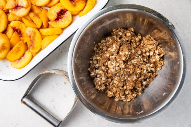 Brown sugar oat crumble in a large bowl