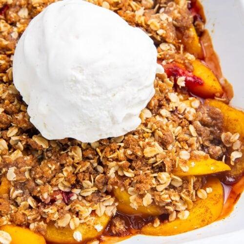 Peach crisp in a baking dish