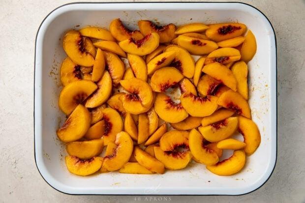 Peaches in baking dish
