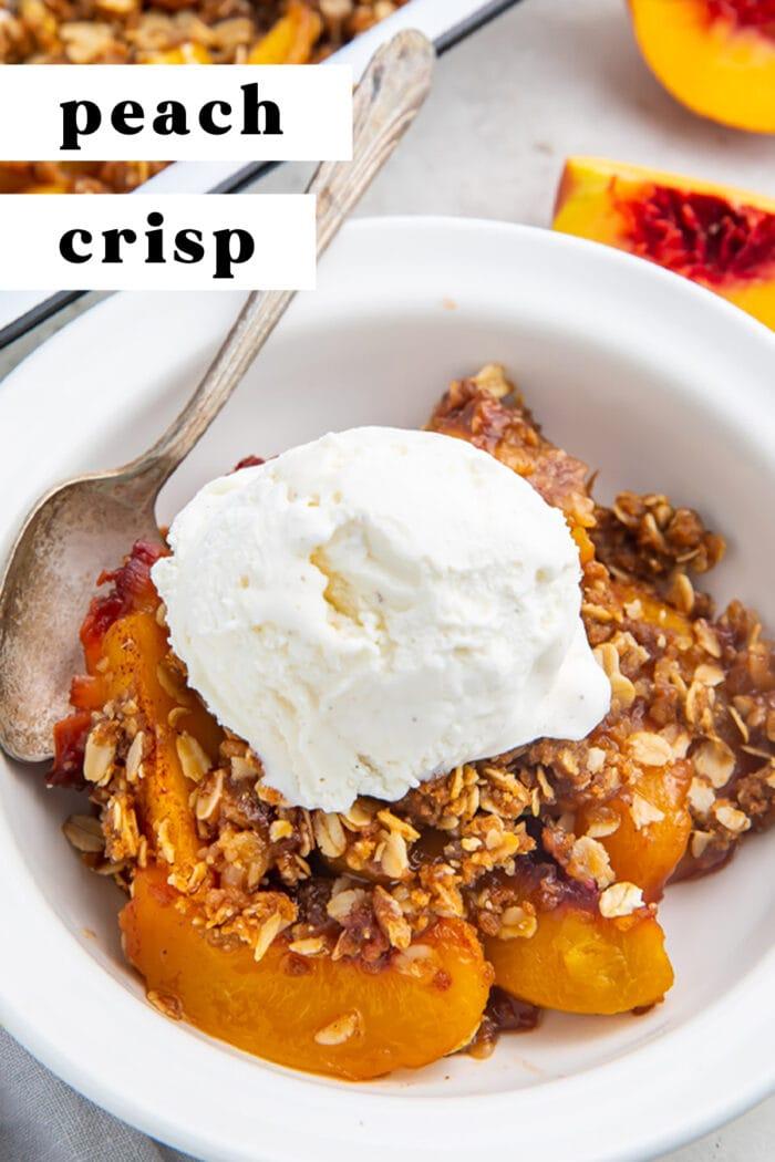 Pin graphic for peach crisp