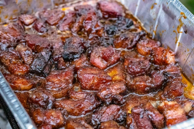 Pork belly burnt ends in a grill pan