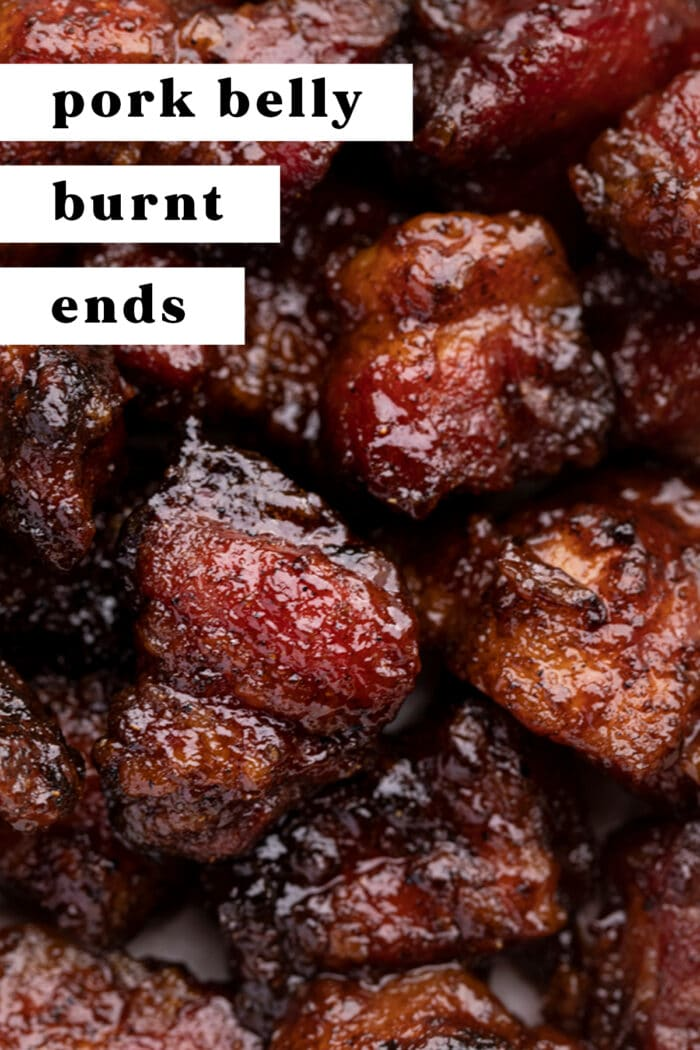 Pin graphic for pork belly burnt ends