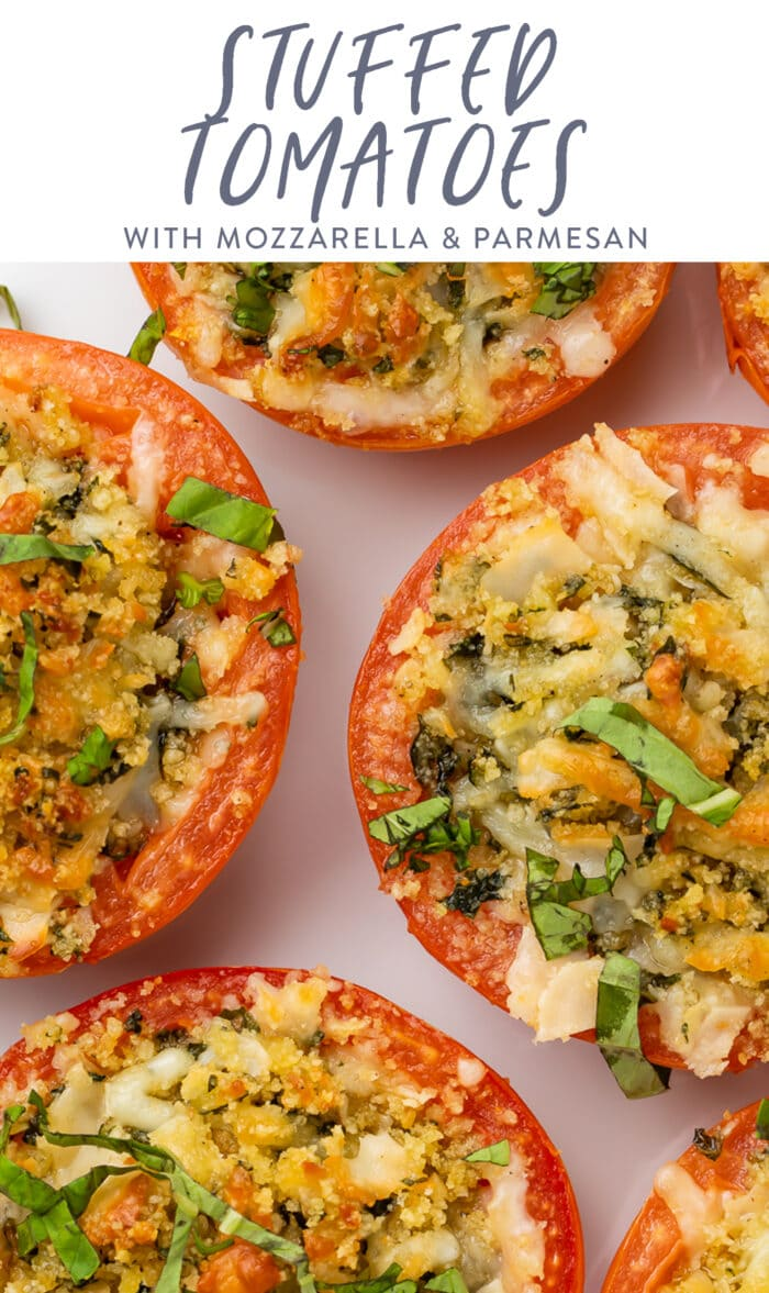 Pin graphic for stuffed tomatoes