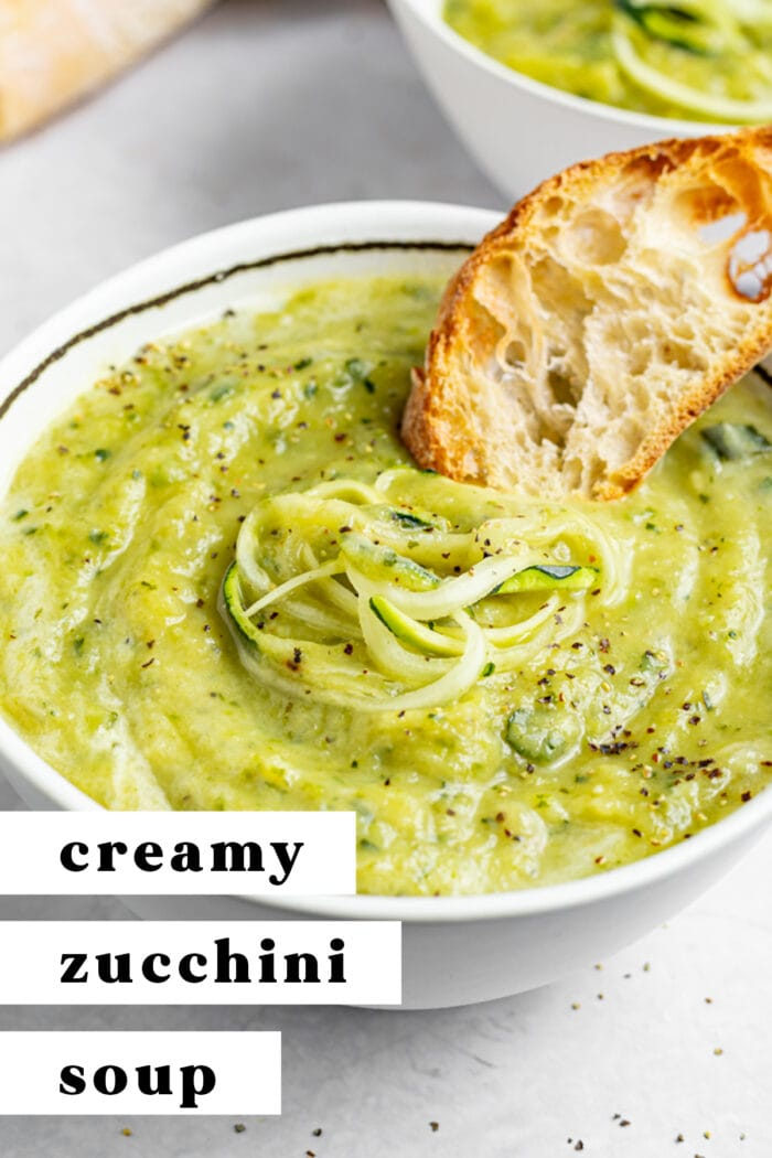 Pin graphic for zucchini soup