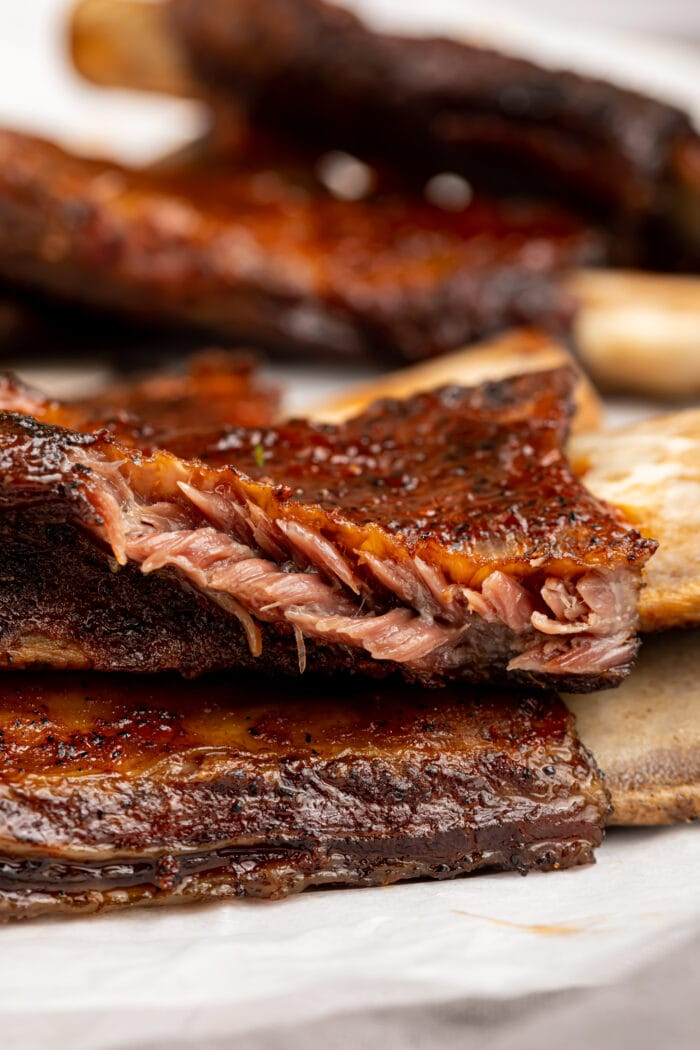 beef back ribs stacked on top of each other