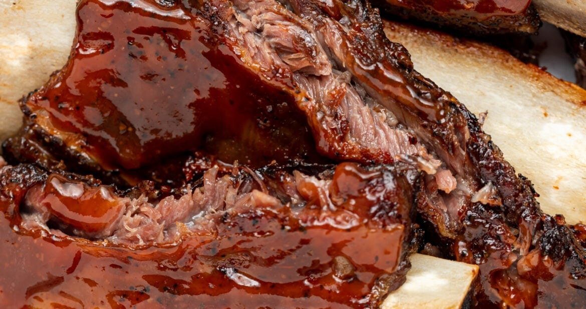 overhead close-up image of beef back ribs