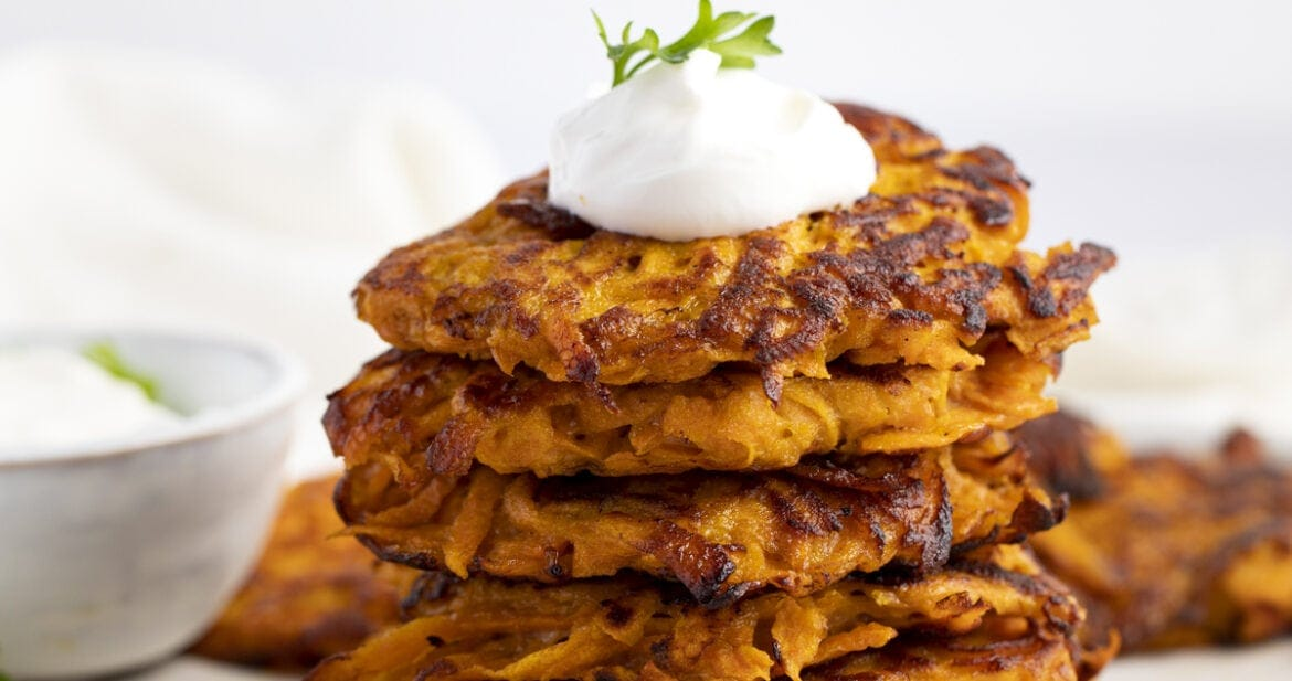Stack of sweet potato hash browns
