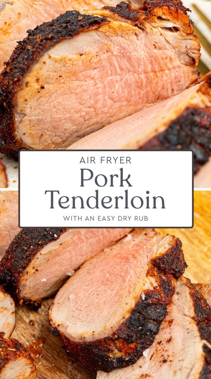 Pin graphic for air fryer pork tenderloin
