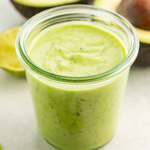 Avocado dressing in a jar