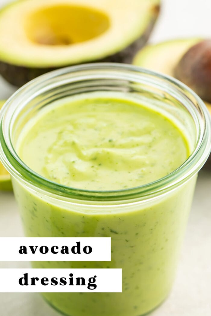 Pin graphic for avocado dressing