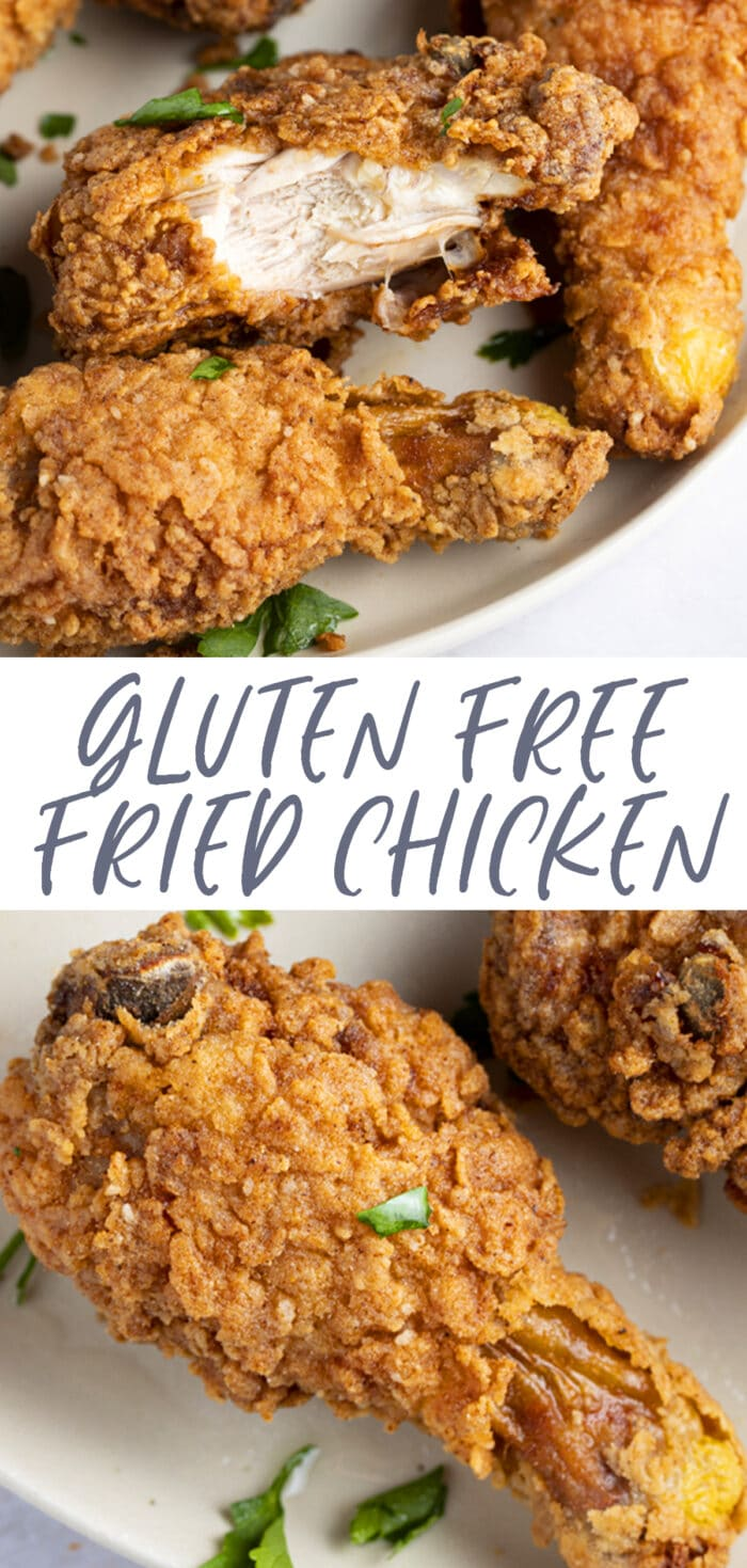 Pin graphic for gluten free fried chicken