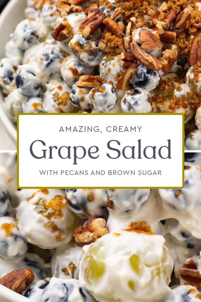 Pin graphic for grape salad