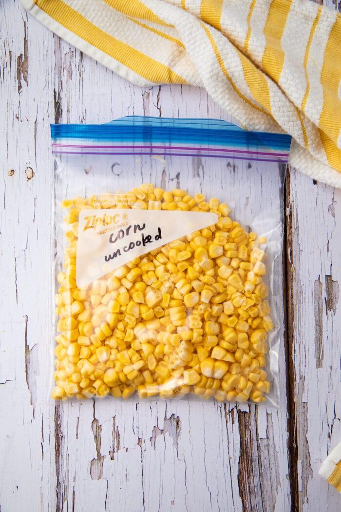 Uncooked kernels in freezer bag