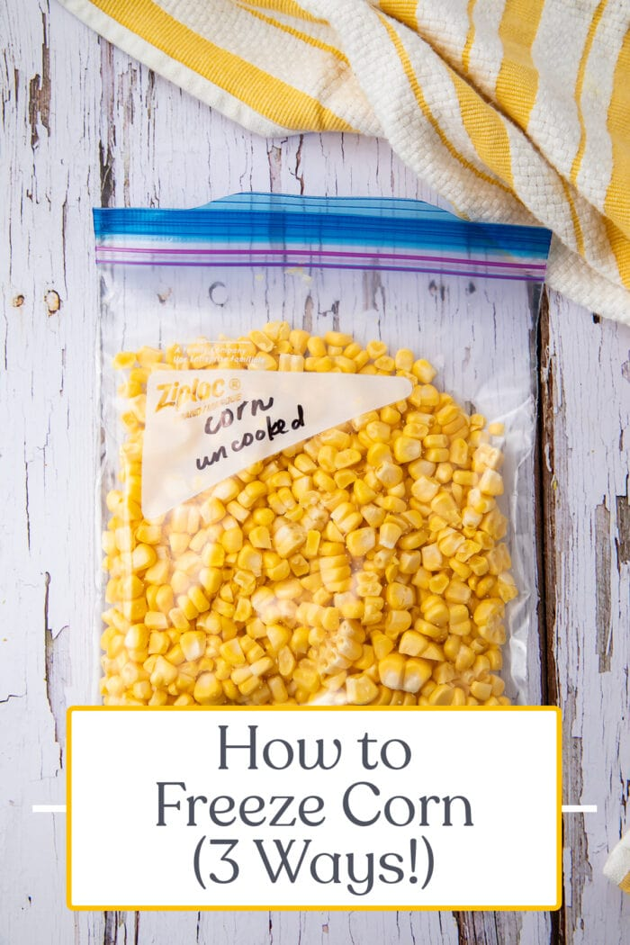 Pin graphic for how to freeze corn