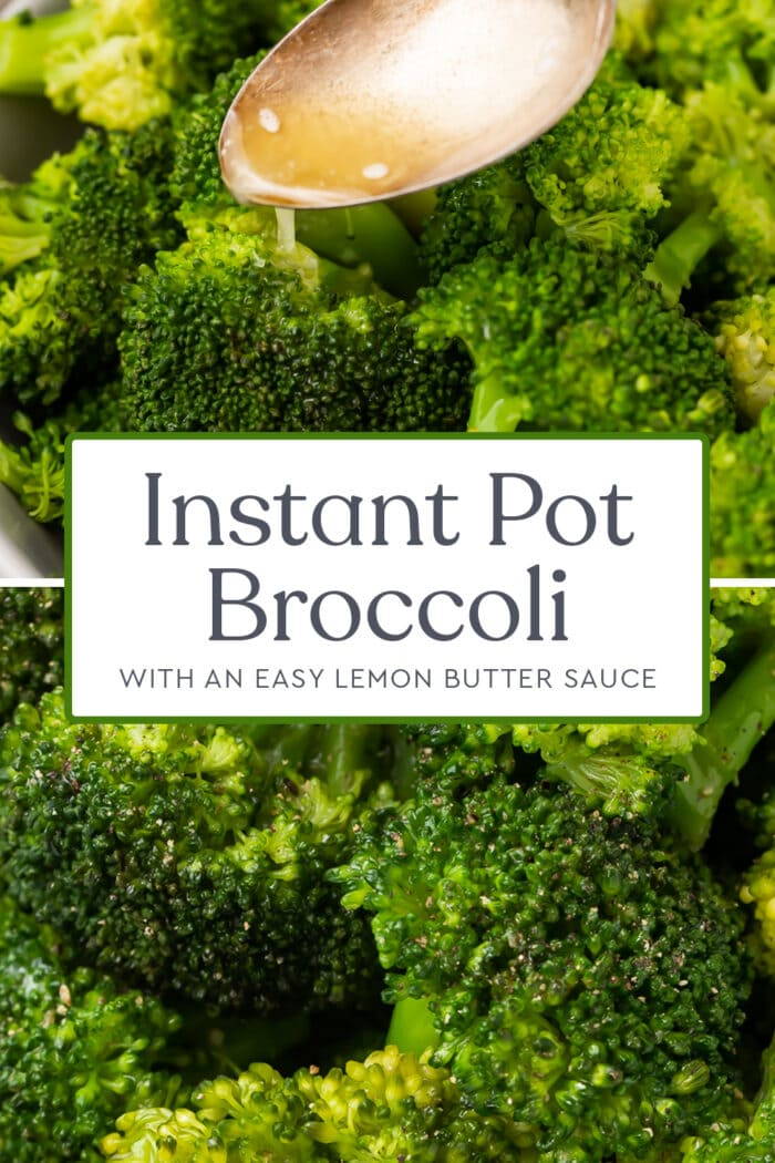 Pin graphic for Instant Pot broccoli