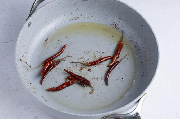 Thai chiles in skillet