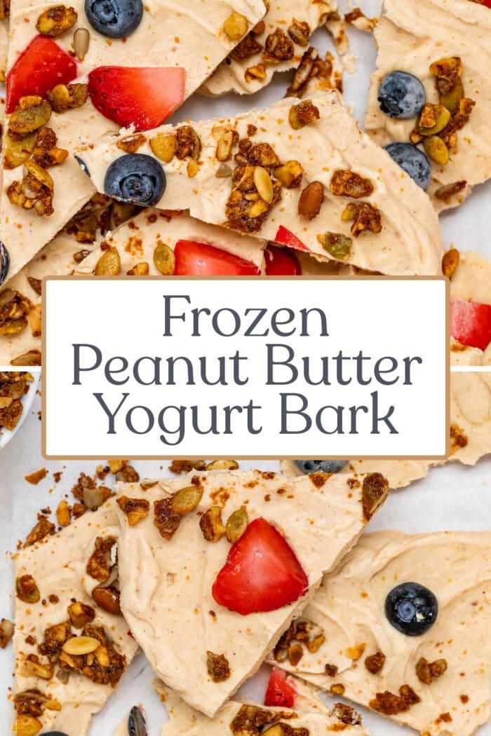 Pin graphic for yogurt bark