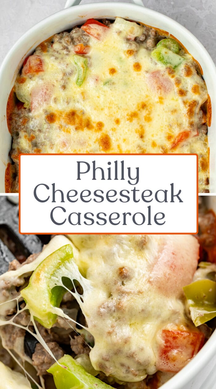 Pin graphic for Philly cheesesteak casserole