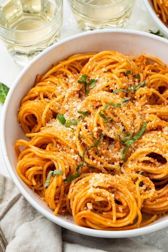 Pomodoro sauce on a bowl of pasta