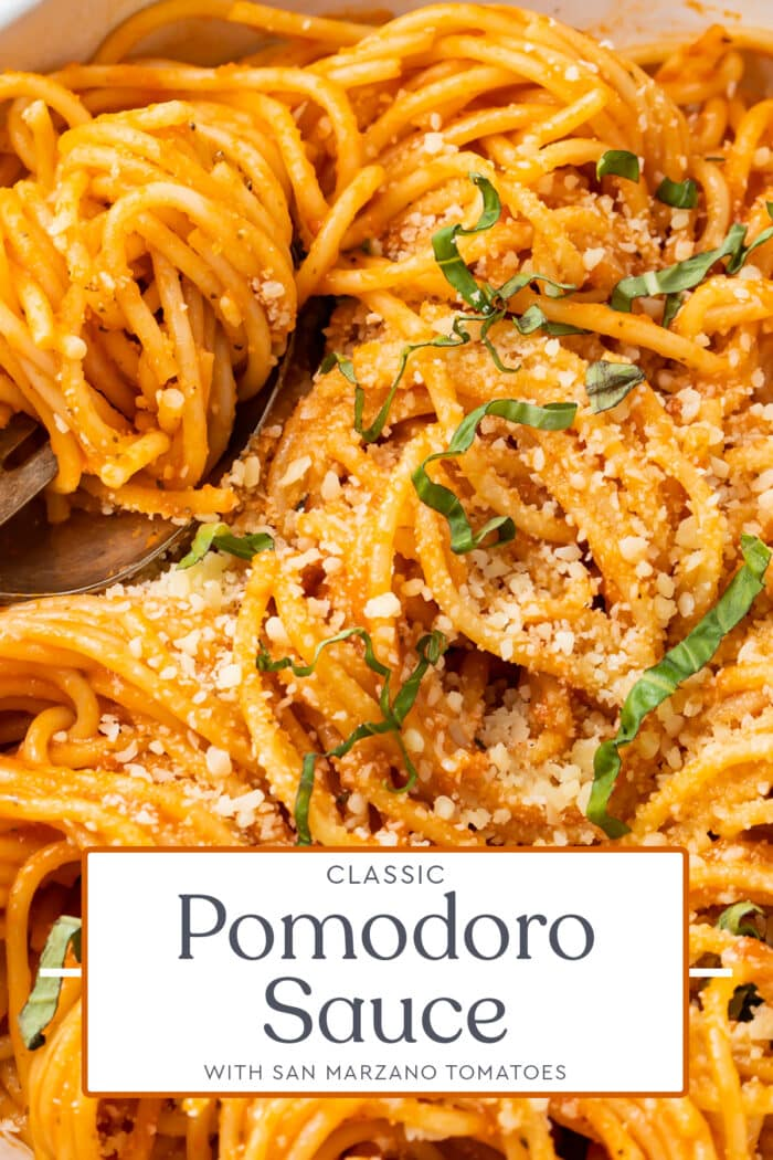 Pin graphic for pomodoro sauce