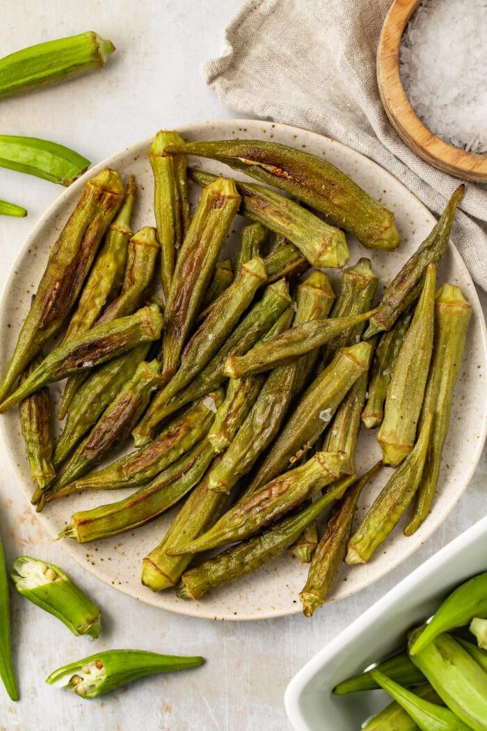Roasted okra in a large bowl