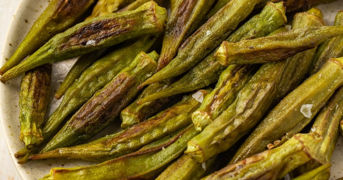 Lightly roasted okra in a large bowl