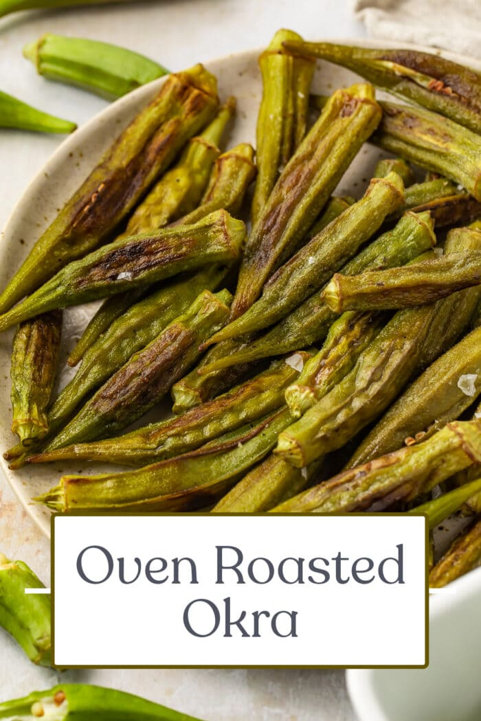 Pin graphic for roasted okra