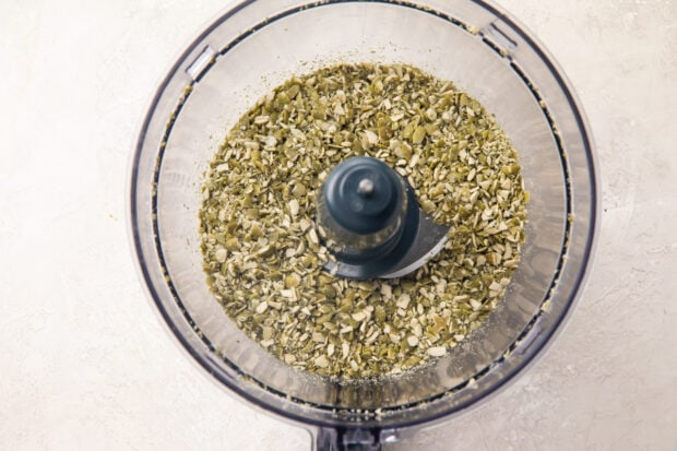 Pumpkin seeds and flaxseeds in food processor
