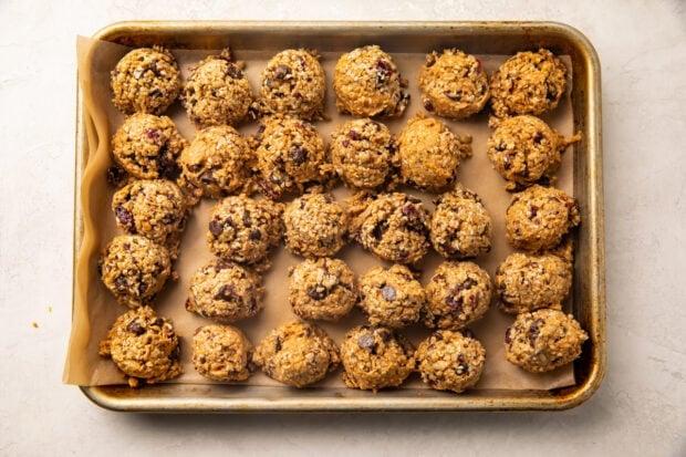 Seed cycling balls on baking sheet