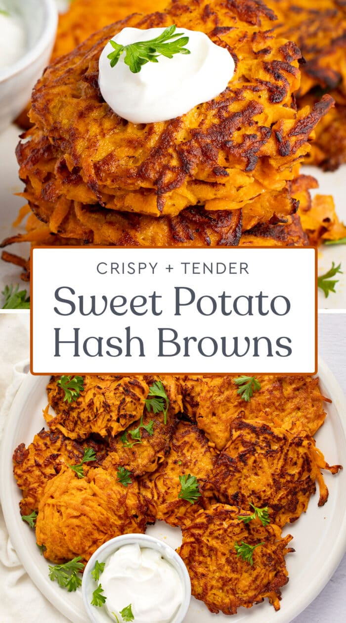 Pin graphic for sweet potato hash browns