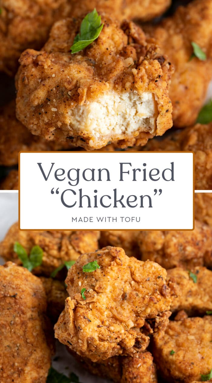 Pin graphic for vegan fried chicken