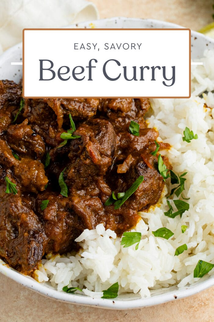 Pin graphic for beef curry