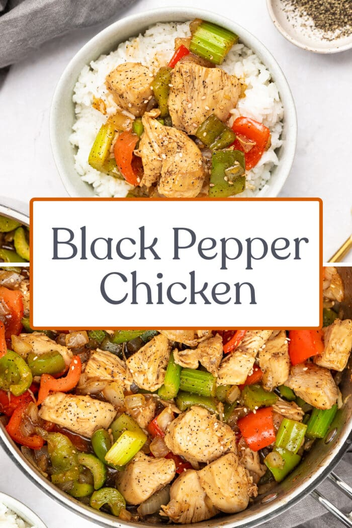 Pin graphic for black pepper chicken