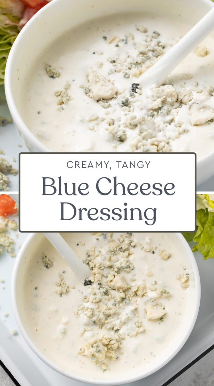 Pin graphic for blue cheese dressing