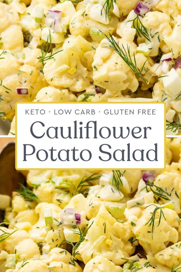 Pin graphic for cauliflower potato salad