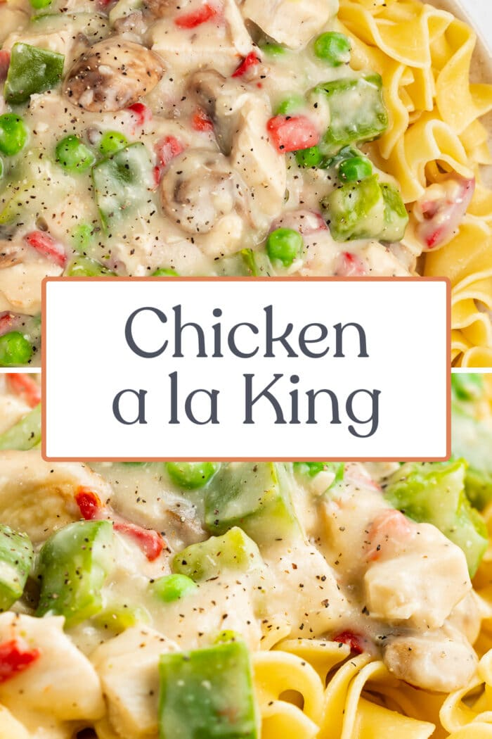 Pin graphic for chicken a la king