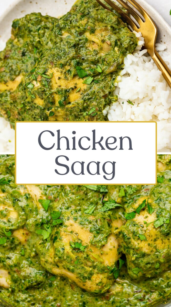 Pin graphic for chicken saag