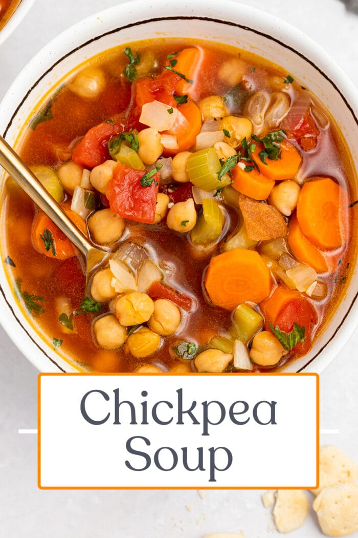 Pin graphic for chickpea soup