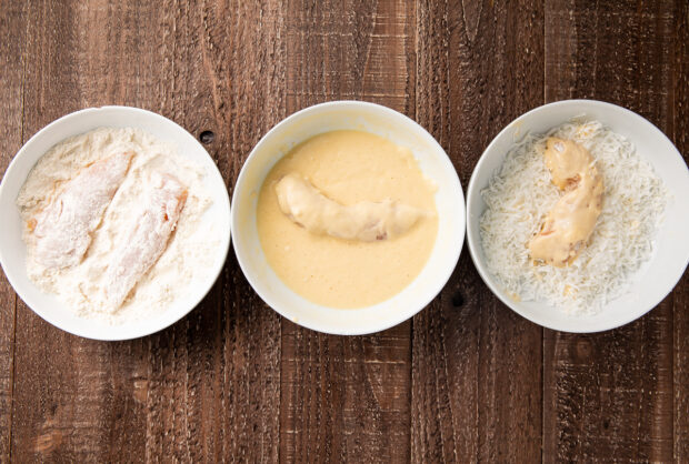 Bowls with layers for coconut chicken strips