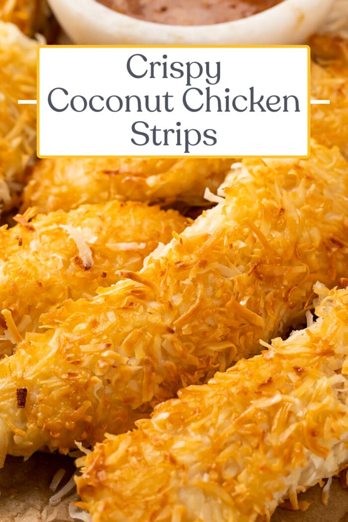 Pin graphic for coconut chicken
