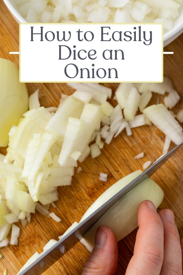 Pin graphic for how to dice an onion