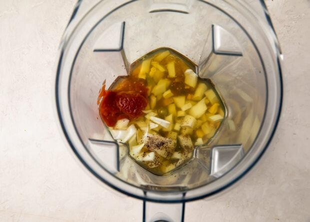 Ginger salad dressing ingredients in a blender