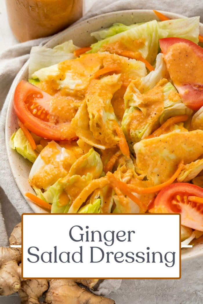 Pin graphic for ginger salad dressing